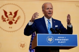 President-elect Joe Biden called for unity and coronavirus precautions in a pre-Thanksgiving holiday address [Carolyn Kaster/The Associated Press]