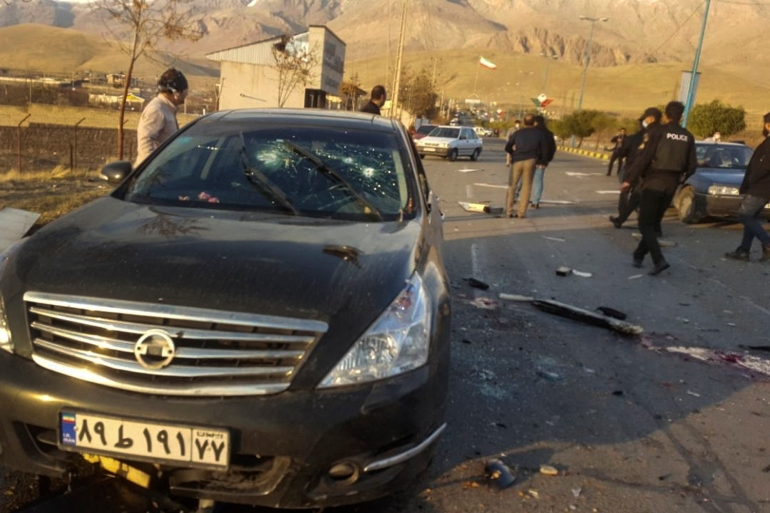 Photo released by Fars News Agency shows the scene where Mohsen Fakhrizadeh was killed in Absard, a small city just east of Tehran, Iran [Fars News Agency via AP]