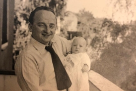 Don Ferencz as a baby with his father, Benjamin Ferencz, in Nuremberg in 1952 [Photo courtesy of the Ferencz family]