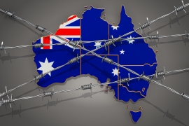 Map of Australia with barbed wire, 3D rendering on grey background (Getty Images)