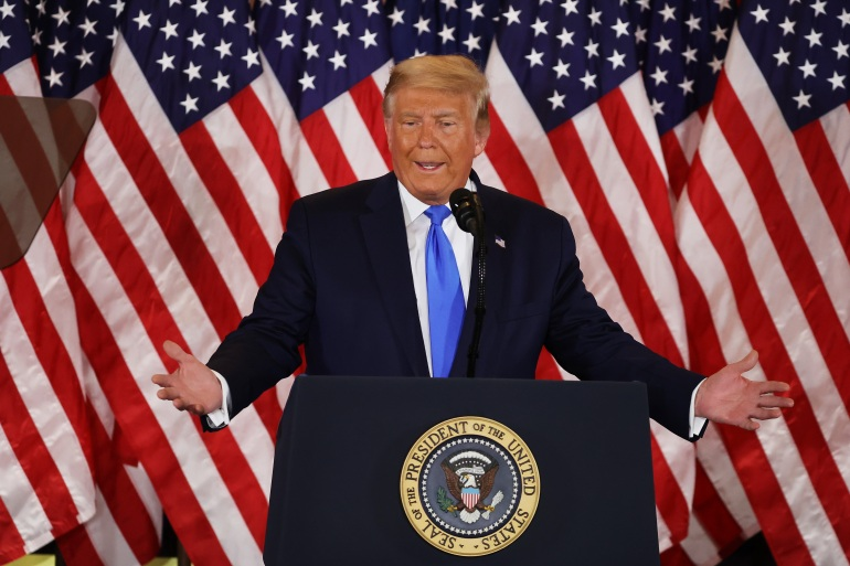 President Trump, without verification, claimed victory in the US election in the early morning hours of November 4, 2020. Joe Biden said votes are still being counted and the election is too close to call. [Chip Somodevilla/Getty Images]