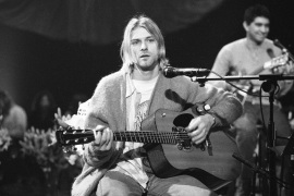American singer and guitarist Kurt Cobain (1967 - 1994), performs with his group Nirvana at a taping of the television program 'MTV Unplugged', New York, New York, November 18, 1993 [Photo by Frank Micelotta/Getty Images]