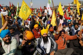 Farmers from the northern Indian states of Punjab and Haryana, angry at recently enacted farm laws, have been trying to stage protests in the capital, New Delhi [FIle: Danish Siddiqui/Reuters]