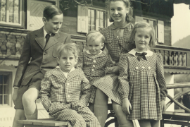 The Frank children - (from left to right) Norman, Michael, Niklas, Sigrid and Brigitte - in 1942 at their house in Schliersee, Germany [Photo courtesy of Niklas Frank]
