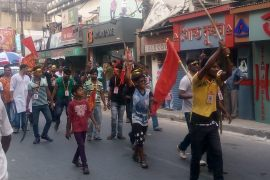 The rally in Chandannagar in 2017 with arms to mark the birthday of Lord Ram [File: Suvojit bagchi/Al Jazeera]