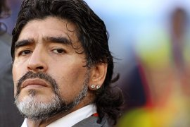 Maradona coaching Argentina's national team at the 2010 World Cup in South Africa. [Oliver Weiken/EPA]