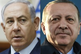 Relations between Israel's Prime Minister Benjamin Netanyahu, left, and Turkish President Recep Tayyip Erdogan have long been marked by fiery rhetoric [File: Ronen Zvulun and Ozan Kose/AFP]