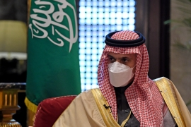 Saudi Foreign Minister Faisal bin Farhan al-Saud speaks during an interview on the sidelines of the Manama Dialogue security conference in the Bahraini capital [Mazen Mahdi/AFP]