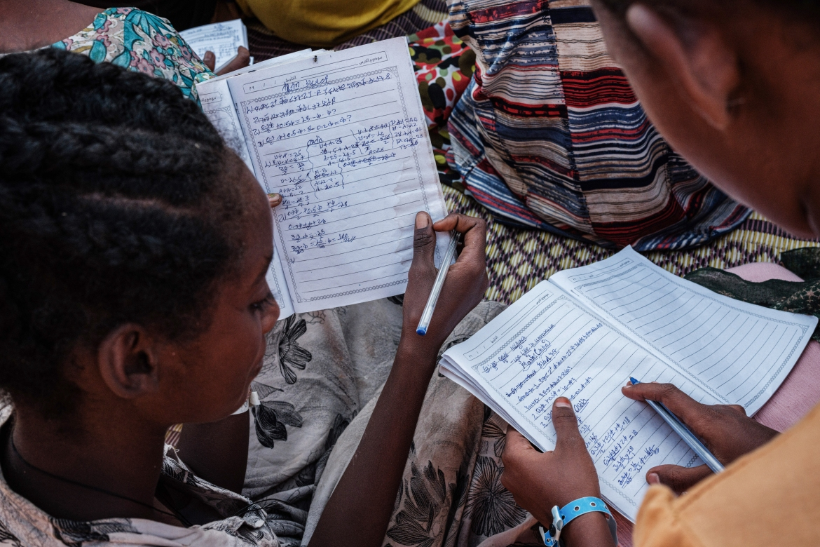 'We teach basic subjects: English, our national language Amharic, basic sciences and, for recreation ... sports, music and arts,' says Teklebrham Giday, 32, the head teacher at Um Rakuba School Site One. [Yasuyoshi Chiba/AFP]