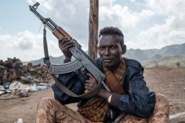 A member of the Ethiopian government's Afar Special Forces unit poses with his weapon in the outskirts of the village of Bisober in Ethiopia's Tigray region [Eduardo Soteras/AFP]
