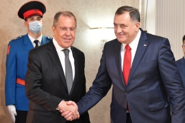 Russian Foreign Minister Sergey Lavrov, left, meets the chairman of Bosnia and Herzegovina's tripartite presidency, Milorad Dodik, right, in Sarajevo [Elvis Barukcic/AFP]