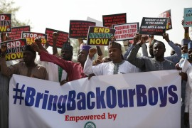 Supporters of the 'Coalition of Northern Groups' (CNG) rally to urge authorities to rescue hundreds of abducted schoolboys, in Katsina, Nigeria [Kola Sulaimon/AFP]