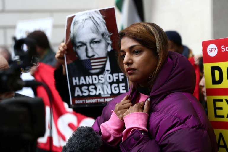 Singer MIA and supporters of WikiLeaks founder Julian Assange gather outside Westminster Magistrates Court in London, UK, January 13, 2020 [File: Simon Dawson/Reuters]