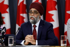 Canada's Minister of National Defence Harjit Sajjan said Saturday that the Canadian military would be deployed to a northern Manitoba First Nation [File: Blair Gable/Reuters]