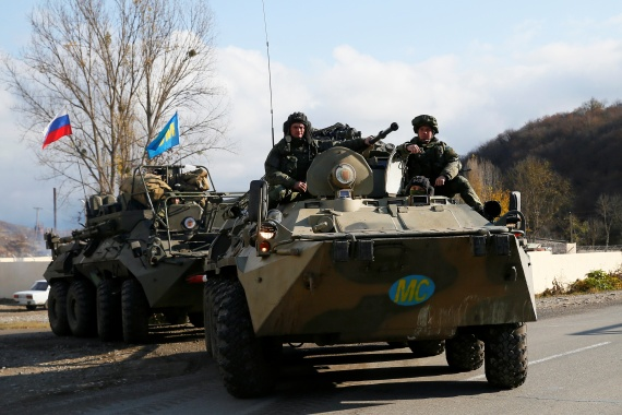 Russian peacekeepers drive an armoured personnel carrier near Arutyunagomer, in the region of Nagorno-Karabakh, on November 14, 2020 [Reuters]