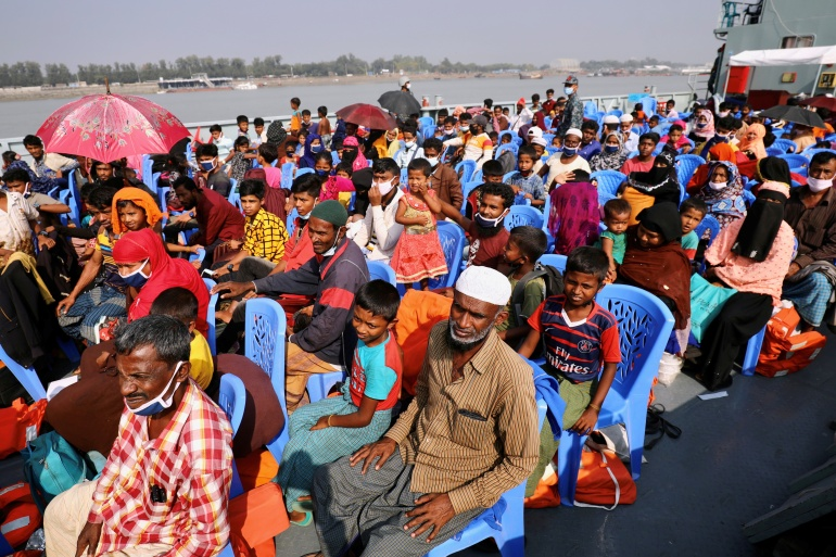 The Rohingya, a minority group who fled violence in Buddhist-majority Myanmar, are not allowed to leave the island without government permission [File: Reuters]