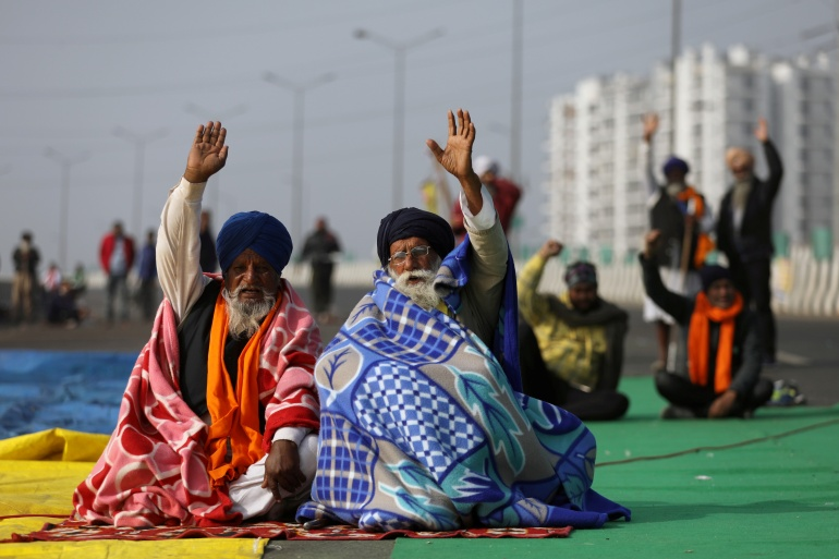 Farmers protest against new farm laws on the outskirts of New Delhi, India [File: Reuters]