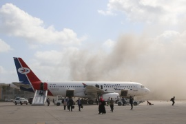 The airport attack killed at least 20 people, including the deputy minister of public works, and injured more than 100 people [File: Fawaz Salman/Reuters]
