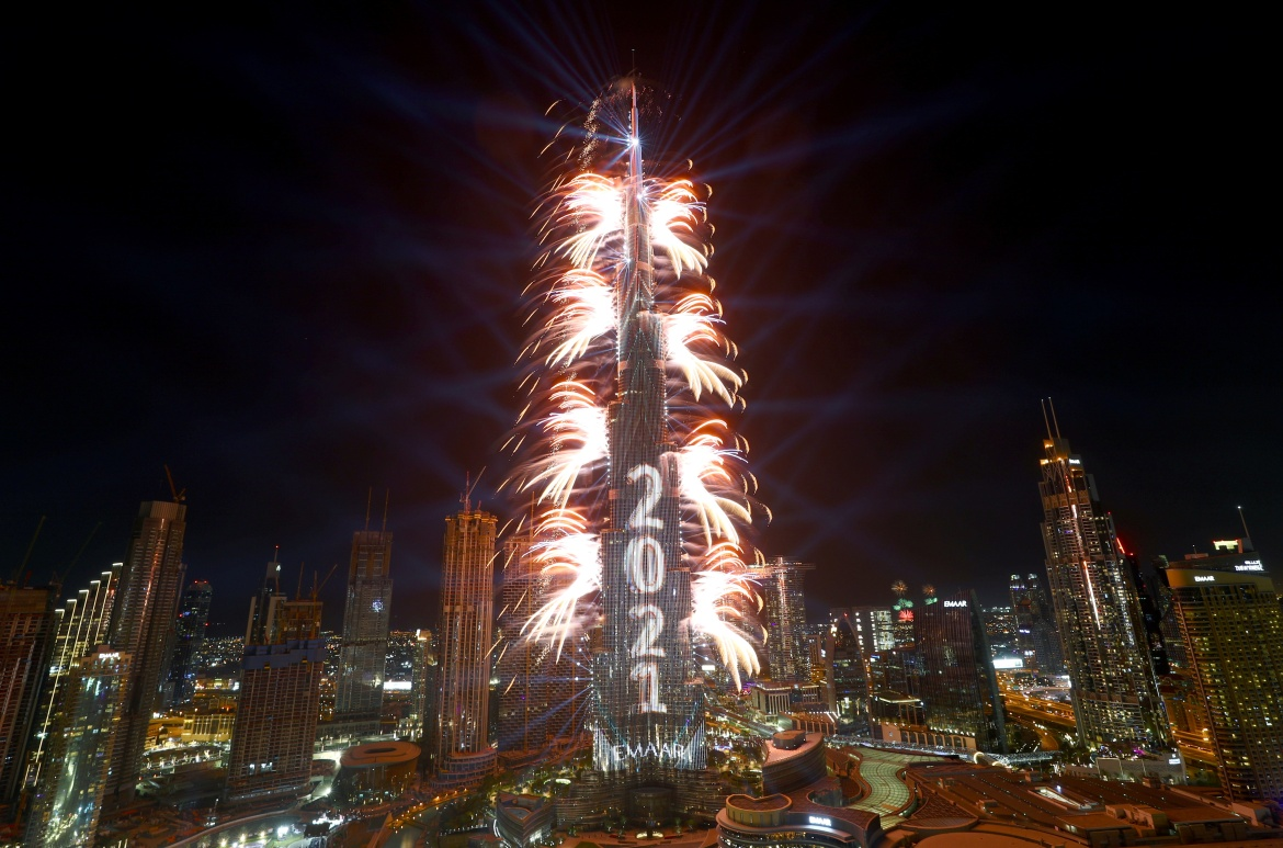 Fireworks explode from the Burj Khalifa, the tallest building in the world, during New Year's Eve celebrations in Dubai, United Arab Emirates [Ahmed Jadallah/Reuters]