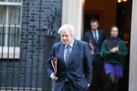 British Prime Minister Boris Johnson leaves Downing Street to attend a cabinet meeting on December 1, 2020 [Tayfun Salci/Anadolu]