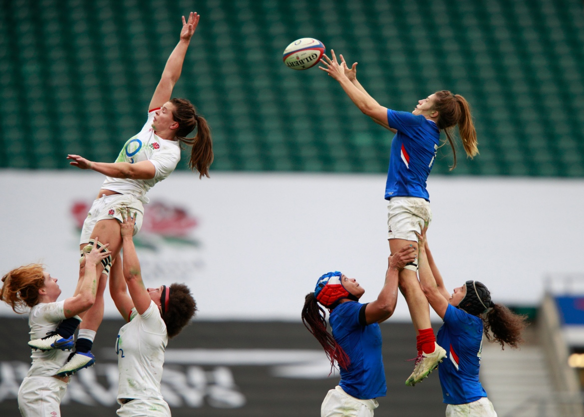 Gaelle Hermet of France catches the ball during the Women's Autumn Nations Cup rugby union match between England and France at Twickenham stadium in London in November. [Ian Walton/AP Photo]