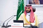 Saudi Arabia's Crown Prince Mohammed bin Salman attends a virtual G-20 summit held over video conferencing in Riyadh on November 22, 2020 [Bandar Aljaloud/Saudi Royal Palace via AP]