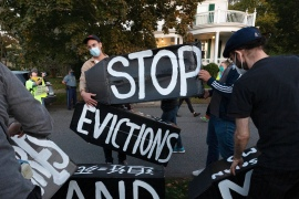 The extension of eviction moratoriums is a positive step, but may not be enough to keep Americans in their homes long-term when back rent eventually comes due, advocates warn [File: Michael Dwyer/AP Photo]