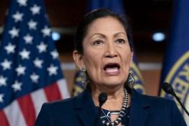 If confirmed as interior secretary, US Representative Deb Haaland would be the first-ever Native American cabinet secretary [File: J Scott Applewhite/AP]