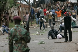 Opposition supporters gather in the streets of the Kibera slum of Nairobi during post-election unrest in Kenya on December 31, 2007 [File: AP/Karel Prinsloo]