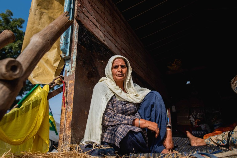 Baljit Kaur, 50, is one of the farmers who have come to Delhi to protest against India's new agriculture laws [Akshay Kapoor/Al Jazeera]