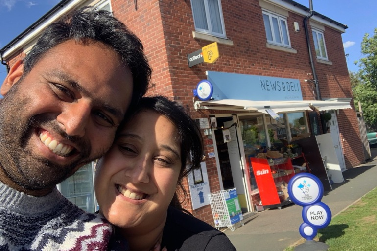 Pratik Master and his wife, Bee, adapted their family's corner shop in central England to survive the COVID-19 economic crisis [Courtesy: Pratik Master/Al Jazeera]