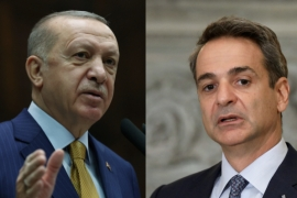 Turkish President Erdogan, left and Greek premier Kyriakos Mitsotakis have been in constant conflict this year [Reuters]