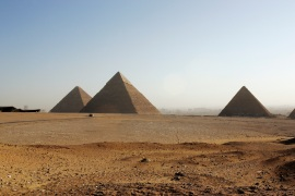 The Great Pyramides of Cheops, Chephren and Mycerinus are seen on February 9, 2006 in Giza, Cairo, Egypt. [Photo by Marco Di Lauro/Getty Images]