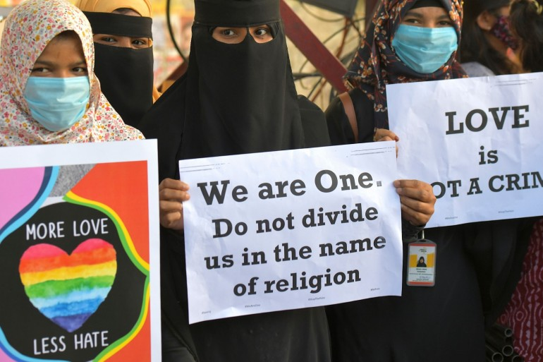 Activists belonging to various human and civil rights groups demonstrate on December 1, 2020, in Bengaluru city over various BJP-led states planning 'love jihad' laws [Manjunath Kiran/AFP]