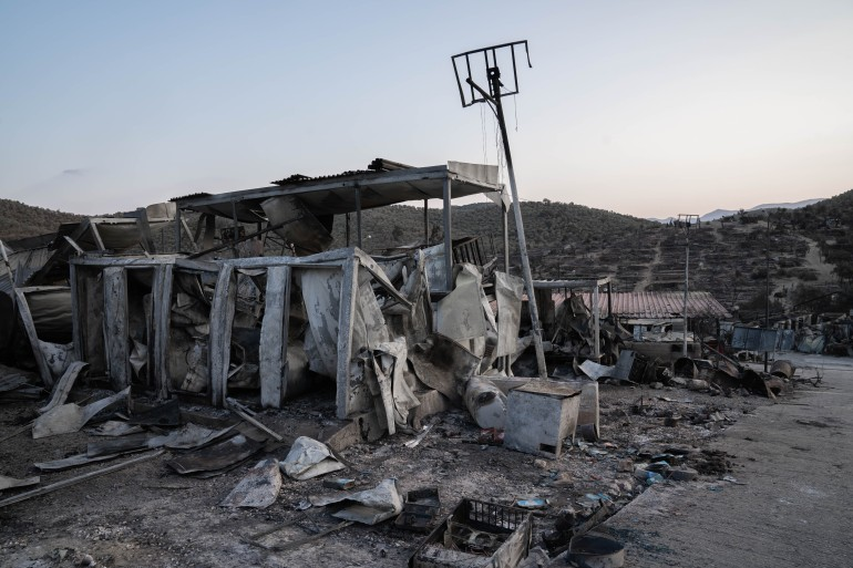 The remains of the Moria refugee camp after a fire burned it to the ground [Michael Graversen/Al Jazeera]