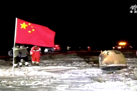 The capsule carrying the samples collected by the Chang'e-5 space probe landed in northern China 's Inner Mongolia region, Xinhua said [CCTV Screenshot via Reuters]