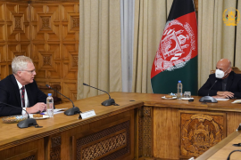US Acting Secretary of Defense Christopher Miller meets with Afghan President Asraf Ghani in Kabul [Afghan president's office via Twitter]
