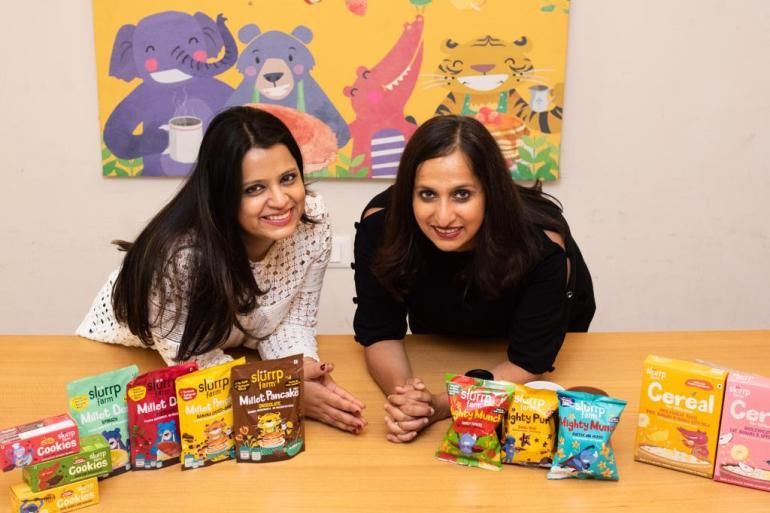 Shauravi Malik, left, and Meghana Narayan, right, co-founders of Indian organic baby food startup Slurrp Farm, say they were forced to rethink their entire business model when COVID-19 struck [File: Slurrp Farm via Megha Bahree/Al Jazeera]