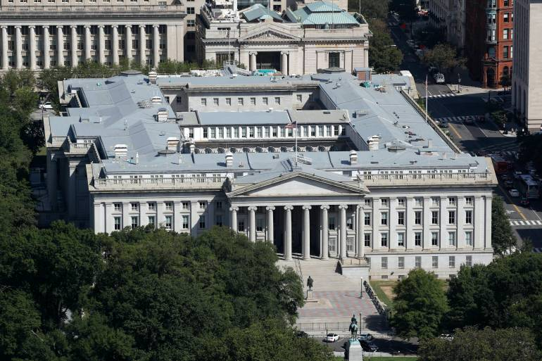 The perpetrators managed to pierce cybersecurity and gain access to email and internal files at the US Treasury Department [File: Patrick Semansky/AP Photo]