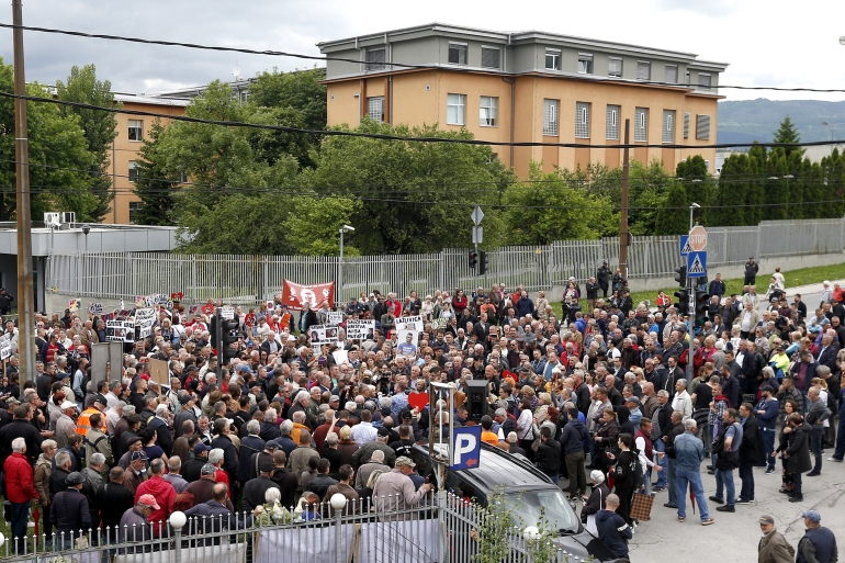 Bosnian citizens protest in front of the High Judicial and Prosecutorial Council in Sarajevo in May 2019 [File: Fehim Demir/EPA-EFE]