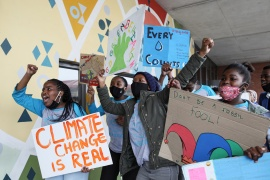 Young activists gesture as they take part in a demonstration during a global day of action on climate change in Khayelitsha township near Cape Town, South Africa, September 25, 2020 (REUTERS/Sumaya Hisham) (Reuters)