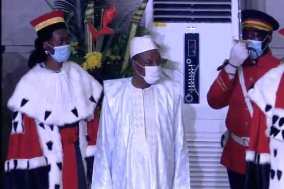 President Alpha Conde has been sworn in for a controversial third term [Screengrab/Al Jazeera]