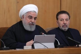 President Hassan Rouhani chairs a meeting next to his chief of staff Mahmoud Vaezi [File: Iranian Presidency handout via AFP]