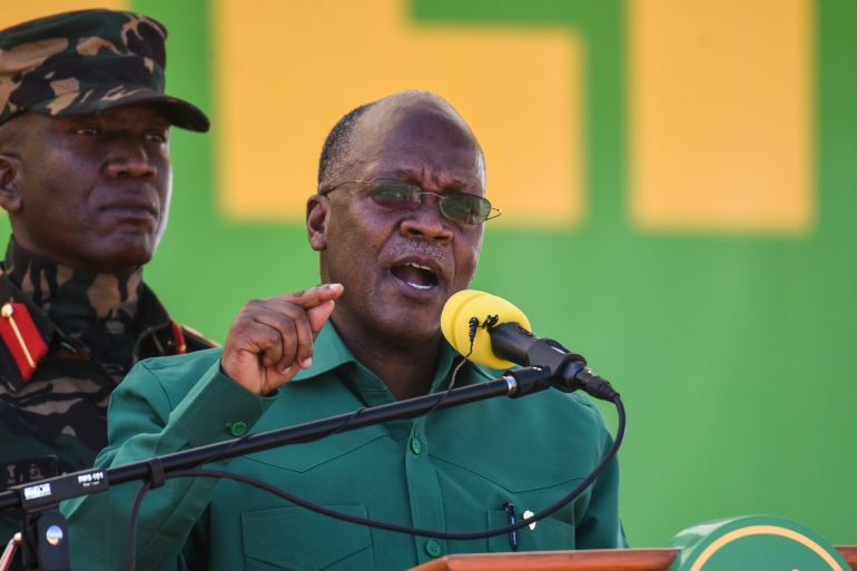 Magufuli has claimed coronavirus has been fended off by prayer in Tanzania [File: Ericky Boniphace/AFP]