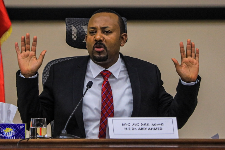 Ethiopian Prime Minister Abiy Ahmed gestures at the House of Peoples Representatives in Addis Ababa, Ethiopia, on November 30, 2020 as he responds to questions about the ongoing conflict in Tigray [Amanuel Sileshi / AFP]