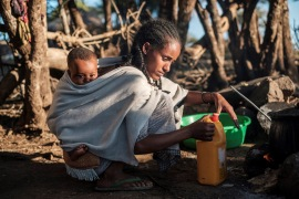 A woman cooks in the village of Bisober in Ethiopia's Tigray region [File: AFP]