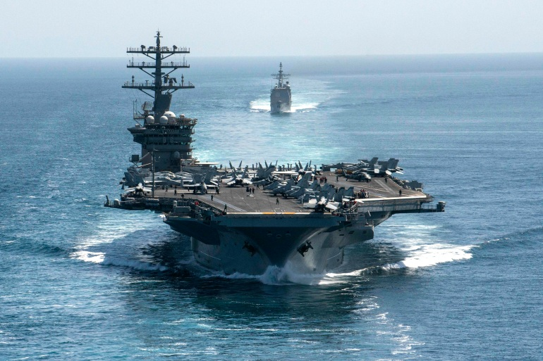The USS Nimitz has been patrolling Gulf waters since late November [US Navy via AFP]