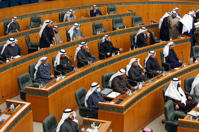 The development comes as 38 members of parliament backed a request to question the prime minister, who they accuse of violating the constitution when forming the government and of failing to present a cabinet work programme [File: Yasser al-Zayyat/AFP]