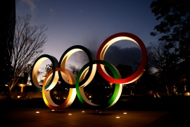 Olympic Rings are seen near the National Stadium, the main venue for the Tokyo 2020 Olympics [AFP]