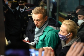 Alexei Navalny was arrested at passport control at Sheremetyevo airport in Moscow [Kirill Kudryavtsev/AFP]